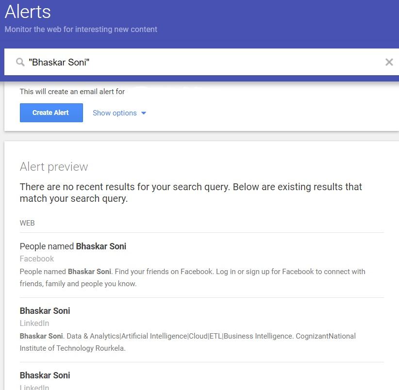 google alerts options list